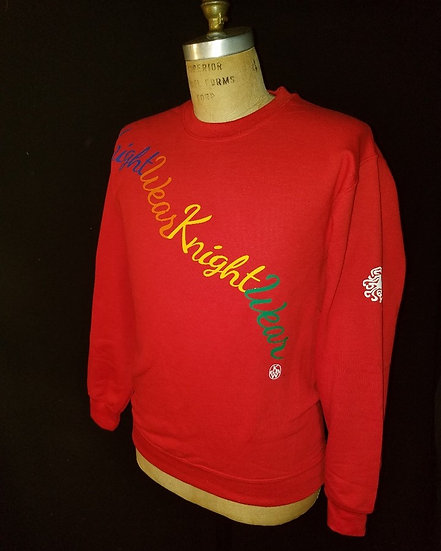 Red multi  color  crewneck sweatshirt