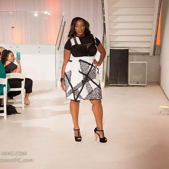 patchwork bodysuit/patchwork scuba skirt