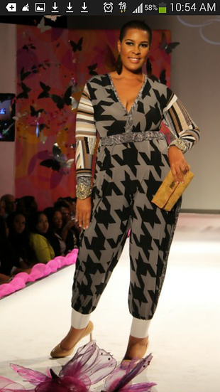 houndstooth and geo print jumpsuit