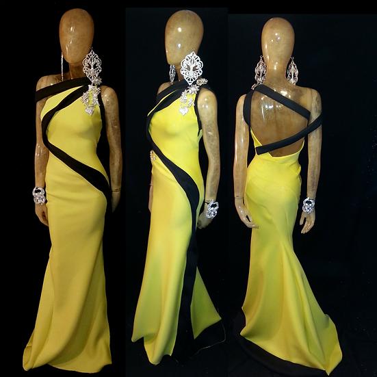 yellow and black swirl neoprene gown