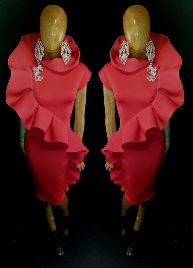 Alvina.. Red neoprene capped sleeve ruffled dress