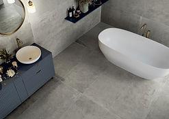 Promenade Argento, Esplanade Argento, Serenissima Tiles, Bathroom Tiles, Grey Porcelain floor tiles, Big bathroom tiles, polished concrete tiles