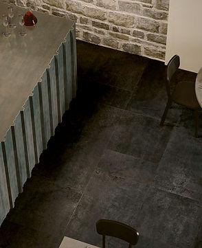 Studio 50, Serenissima, Studio Corvino, Black floor tiles, polished concrete tiles, concrete effect tiles, Italian floor tiles, 60 x 120cm tiles