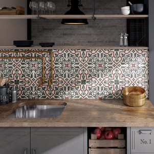 Bloomsbury 5, Art Nouveau Folies Bergere, Equipe tiles, Rovic Tiles, encaustic tiles, Moroccan tiles, traditional tiles, Original Style