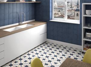 Bloomsbury 8, Art Nouveau Arcade Blue, Equipe tiles, Rovic Tiles, encaustic tiles, patterned tiles, Original Style