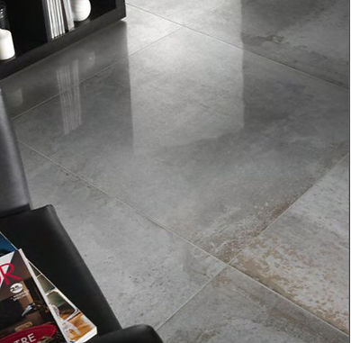 Epoca Hemisphere Steel. Metal effect tiles. Metallic.  Rectified floor tile.  Gambini