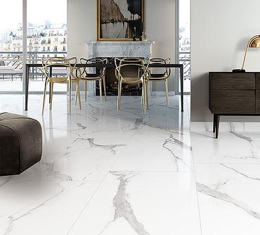 Statuario Bianco, Cerdomus Tiles, Polished porcelain, big tiles, Rovic Tiles, Italian Floor Tiles,