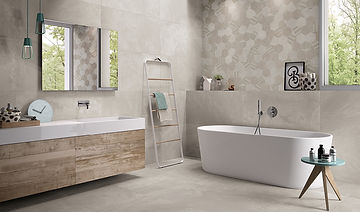 +3 Grigio, Viva Ceramica, Grigio, Grey porcelain floor tiles, hexagon tiles, bathroom tiles, Rovic Tiles