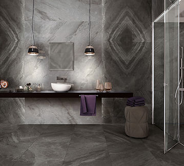 Supreme Charcoal, Sovereign Charcoal, Book Match, Cerdomus Tiles, Porcelain Floor Tiles, Rovic Tiles, Italian floor tiles, bathroom tiles, polished porcelain, marble tiles