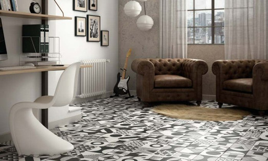 Equipe Caprice Black and White Patchwork Porcelain Floor and Wall Tiles