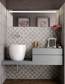 Bloomsbury 3, Art Nouveau Rambia Grey, Equipe Tiles, Rovic Tiles, encaustic tiles, traditional tiles, Original Style, Moroccan tiles