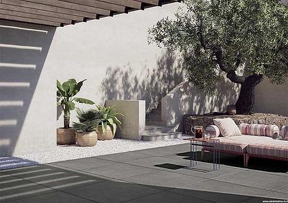 Studio 50 Peltro, Studio Peltro, Serenissima, Outdoor porcelain tiles, 20mm thick tiles, external tiles, porcelain tiles for outdoors, concrete effect outdoor tiles, grey tiles