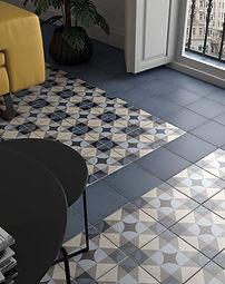 Bloomsbury 4, Art Nouveau Palais Blue, Equipe Tiles, Rovic Tiles, encaustic tiles, patterned tiles, Original Style