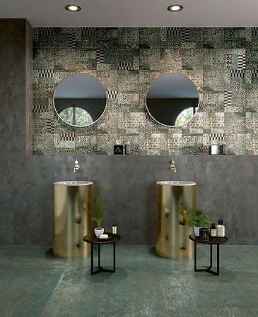 Studio 50, Serenissima, Studio Verdarame, Italian floor tiles, green floor tiles, 100 x 100cm tiles, big floor tiles, porcelain floor tiles,