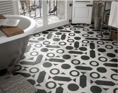 Caprice Black and White Balance.  Porcelain Floor and Wall Tiles.  Equipe.  Spanish Tiles
