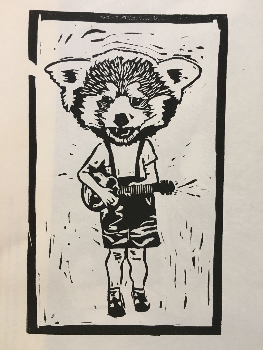 Rockin' Red Panda block print