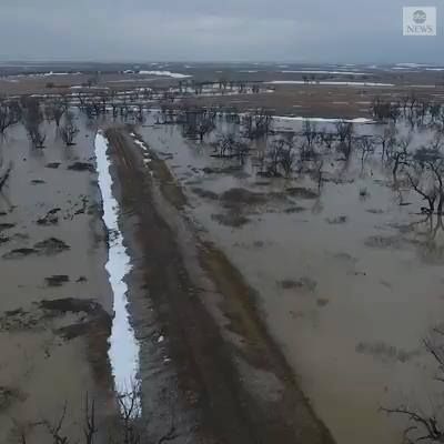 Aerial footage shows severe flooding on the Pine Ridge Reservation in South Dakota, which has cut residents off from roads, prompted evacuations and left some stranded in their homes for two weeks, as emergency personnel work to provide aid.