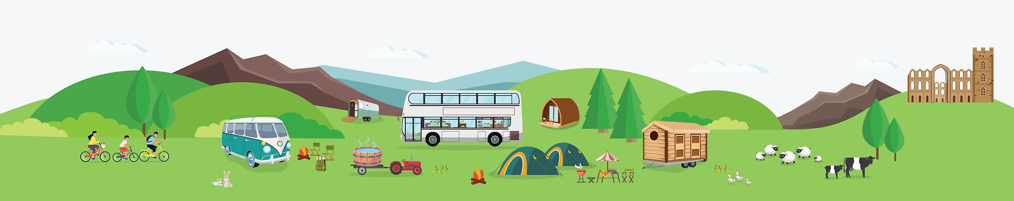 Ivy Bank Campsite Illustrations - Footer