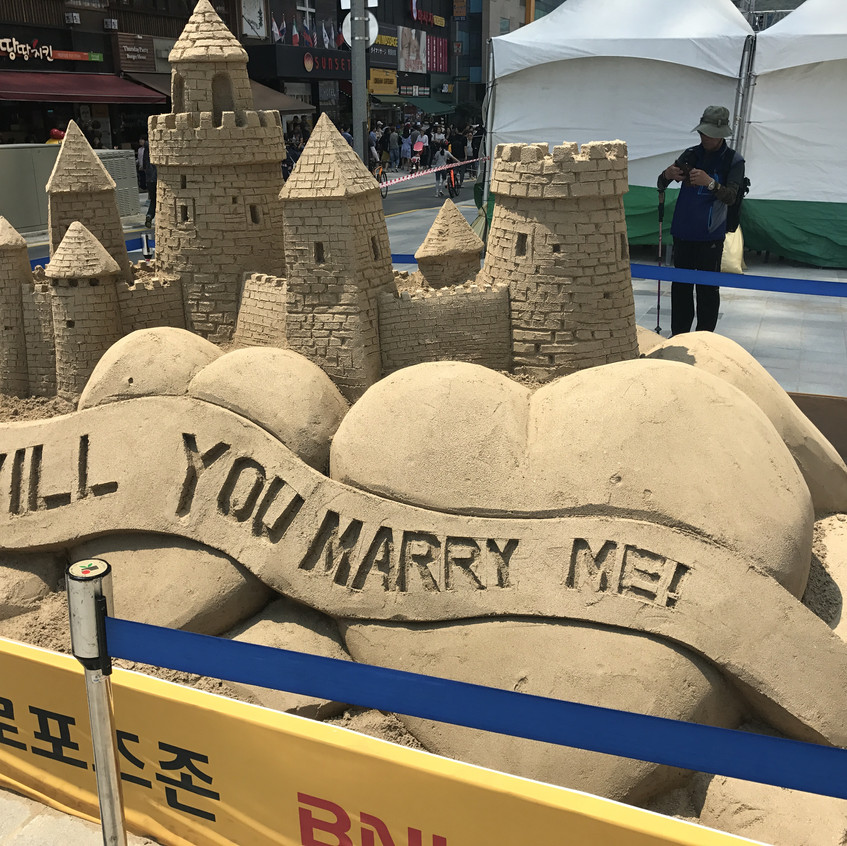 Haeundae Sand Festival has been held between May 26 and 29, 2017. A lot of statues made of sand. There were a lot of domestic and foreign people watching them on the beach.