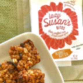 Squares of peanut butter granola bites