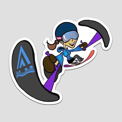 Adaptive skier sticker