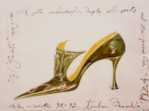 Boceto de un zapato creado por Manolo Blahnik