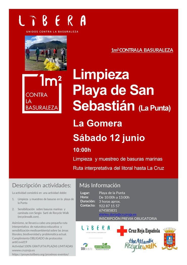 Cartel de Libera contra la basuraleza-  12 junio en San Sebastián de La Gomera