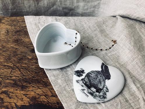 Boite en porcelaine Lapin coeur