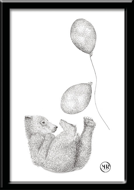 Affiche Ourson ballons