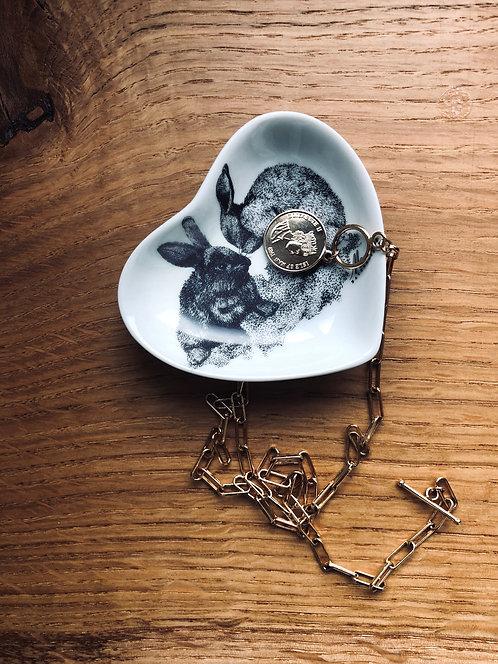 Assiette porcelaine 2 Lapin coeur