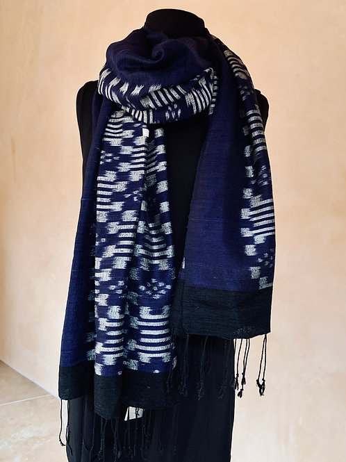 Indigo and Silver Scarf