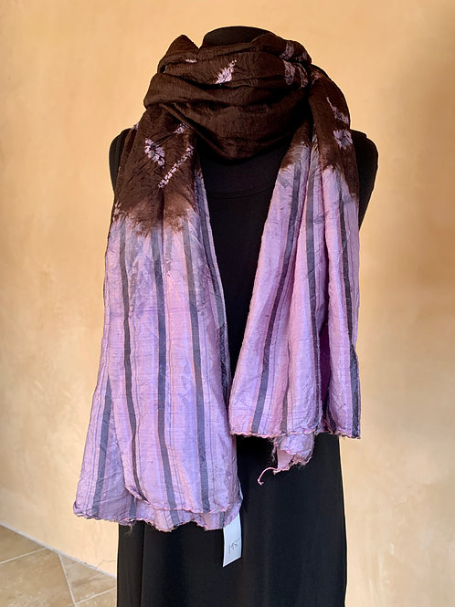 Crinkled Lavender and Brown Scarf