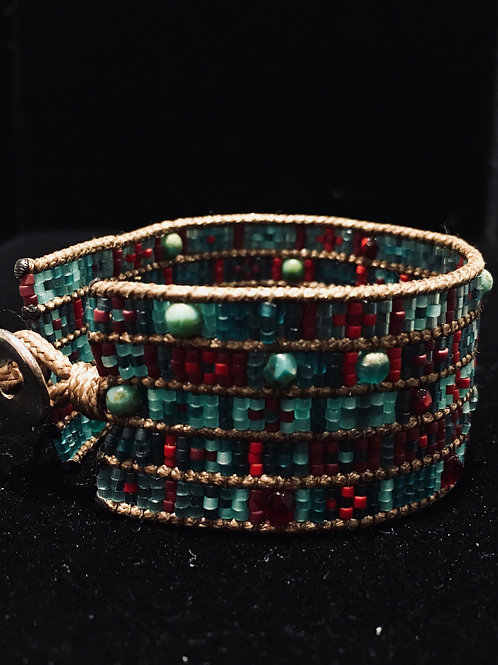 Blue and Red Lily Bead Bracelet