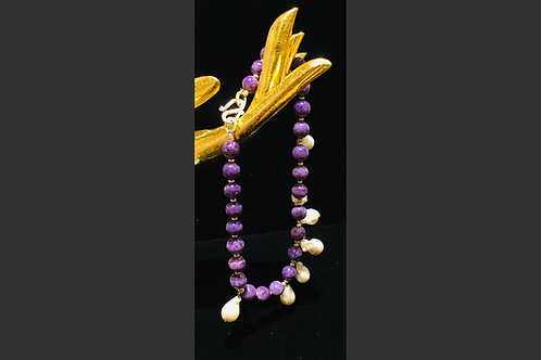 Charoite and Pearl Necklace