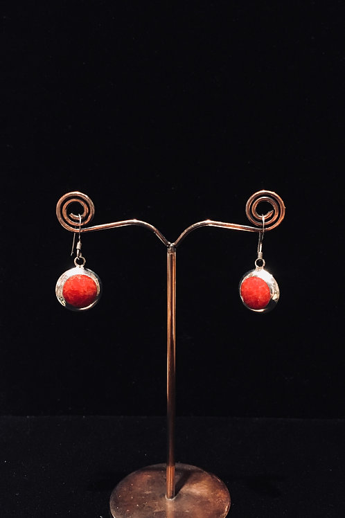 Coral and Pearl Earrings