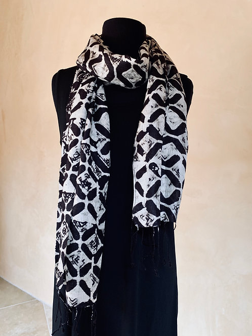 Brown and White Scarf