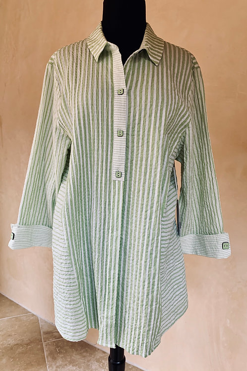 Lime and White Strip Long Button-Up Blouse