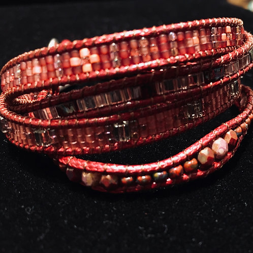 Red Lily Bead Bracelet