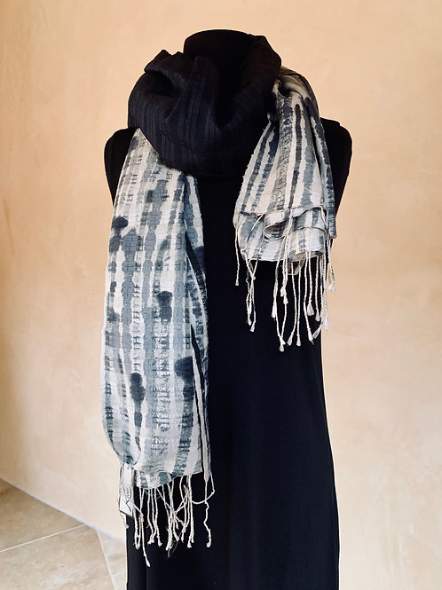 Dark Blue and Grey Hand-Painted Scarf