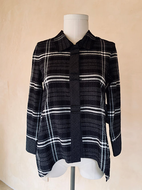 """Black and White Plaid """"Piano"""" Button Blouse"""