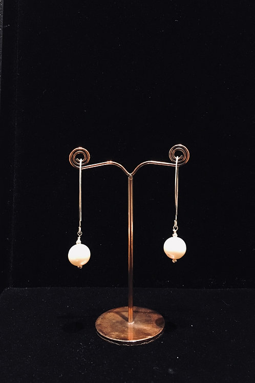Pearl Long Wire Earrings