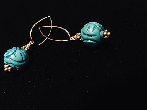 Carved Turquoise Earrings