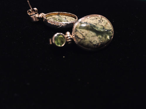 Agate and Peridot Earrings