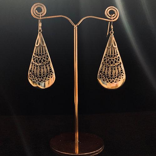 Silver Oblong Filagree Earrings