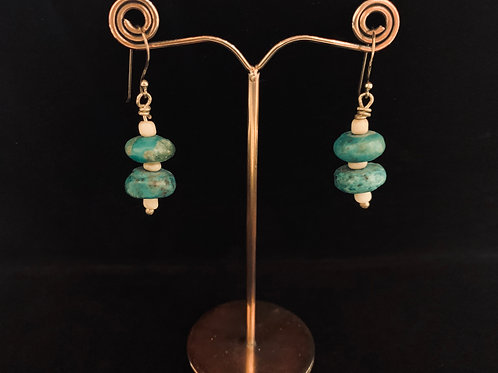 Turquoise and Glass Earrings