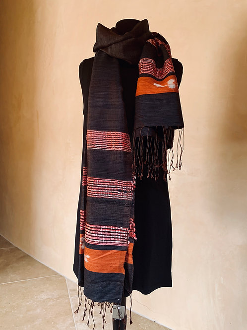 Charcoal and Orange Scarf