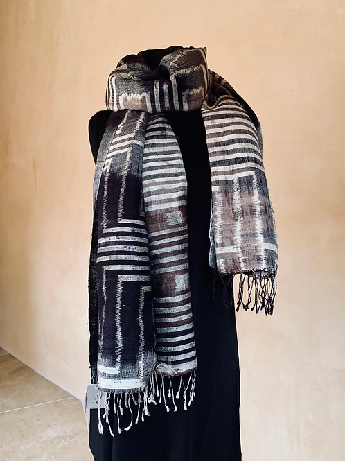 Charcoal and Cream Scarf