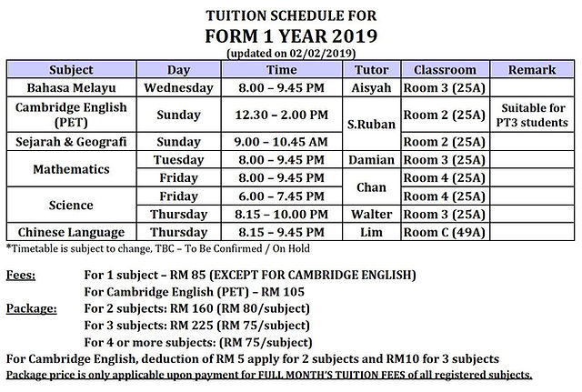 Form 1 PT3 Tuition Classes 2019 Pusat Tuisyen Teliti