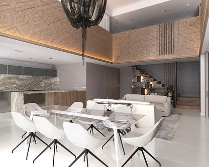 3d rendering living room dining room 000
