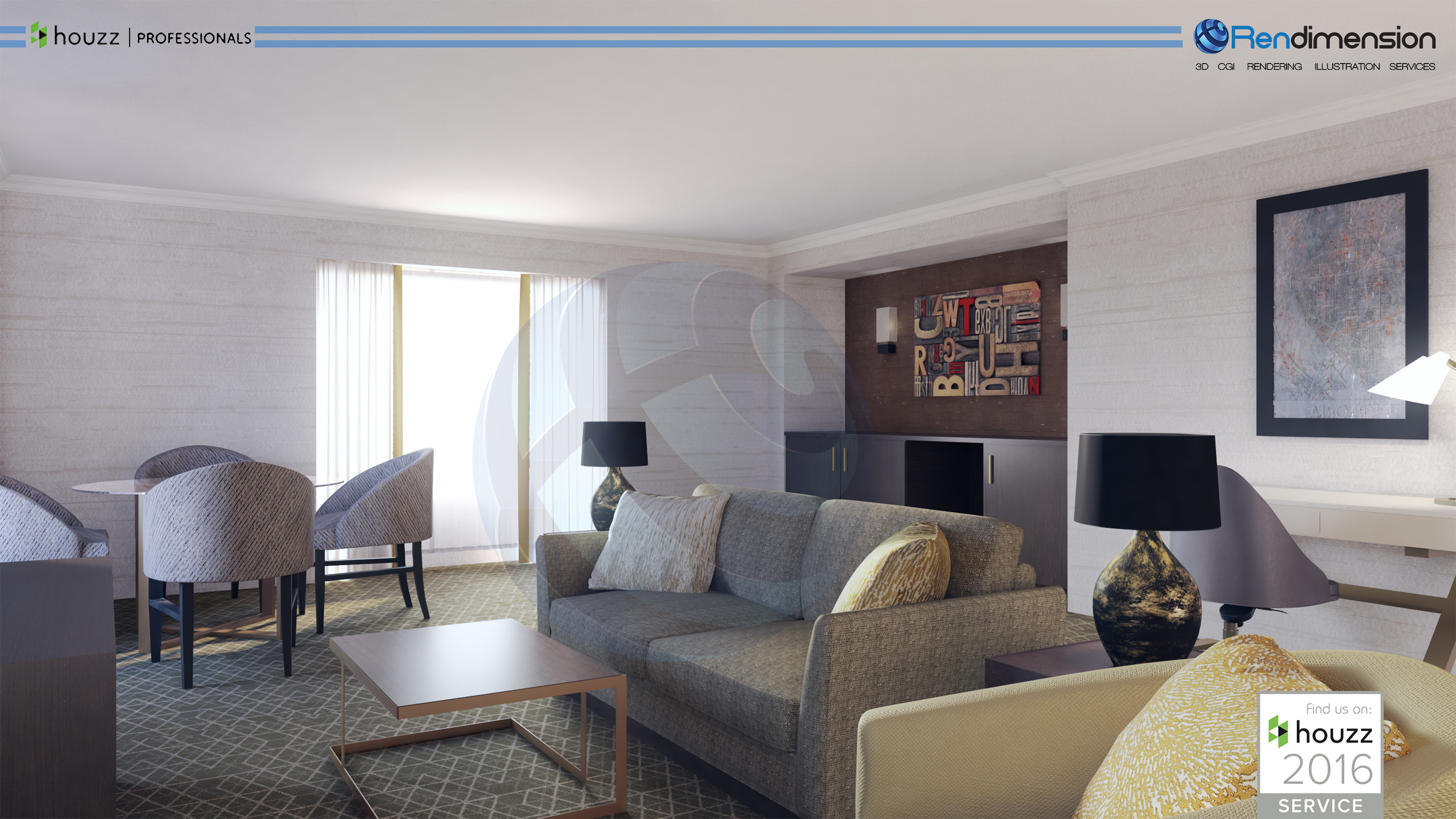 3D INTERIOR RENDERING CHICAGO WASHINGTON ILLINOIS USA ARCHITECTURAL ILLUSTRATION